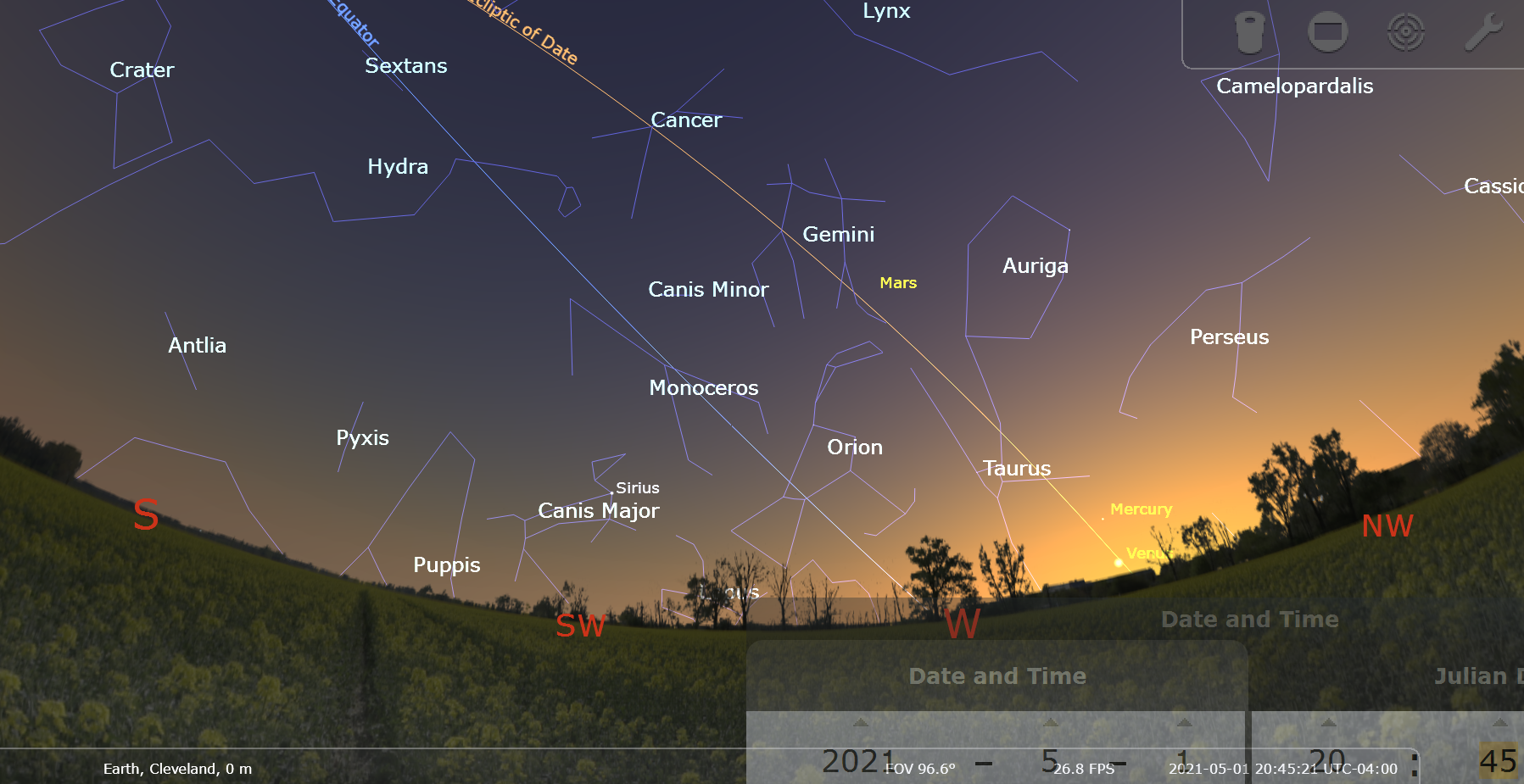 May 1, 2021 Venus, Mercury, Mars at sunset